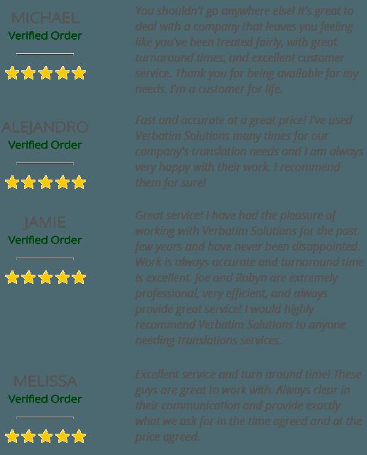 Verbatim Solutions Testimonials
